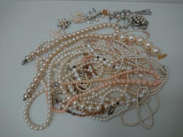 SILVER刻印入り有 ヴィンテージネックレス パール系 アンティーク 大量 まとめて おまとめ まとめ売り ペンダント 真珠 パール 430g