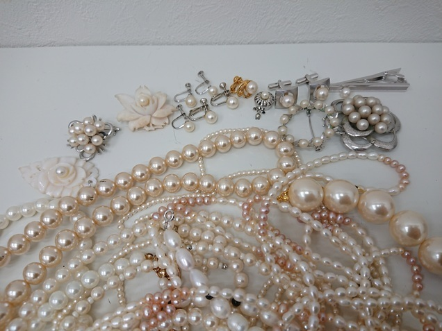 SILVER刻印入り有 ヴィンテージネックレス パール系 アンティーク 大量 まとめて おまとめ まとめ売り ペンダント 真珠 パール 430g_画像2