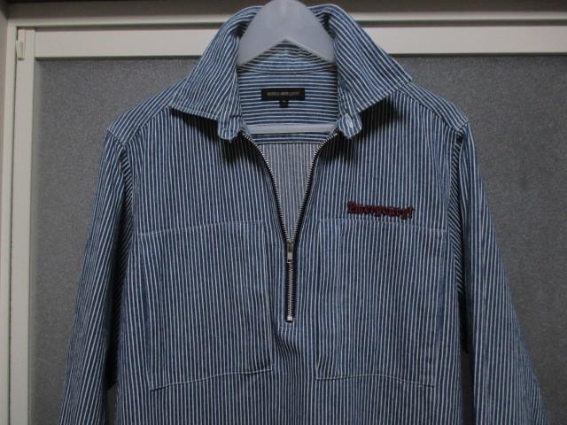 WORLD WIDE LOVE ヒッコリー ストライプ プルオーバー デニムシャツジャケット ジップアップ 刺繍 オールドヴィンテージモデル 40'S 50'S_画像2