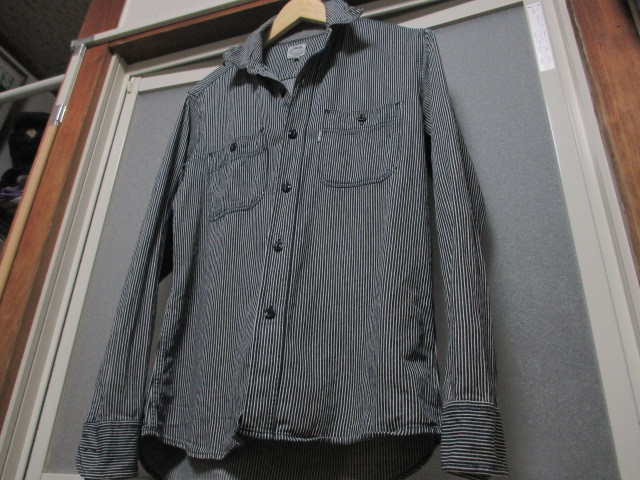WORLD WIDE LOVE ヒッコリー ストライプ プルオーバー デニムシャツジャケット ジップアップ 刺繍 オールドヴィンテージモデル 40'S 50'S_画像3