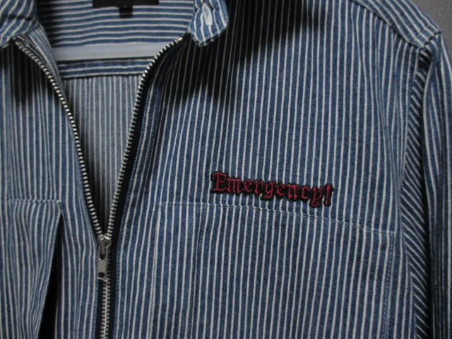 WORLD WIDE LOVE ヒッコリー ストライプ プルオーバー デニムシャツジャケット ジップアップ 刺繍 オールドヴィンテージモデル 40'S 50'S_画像4