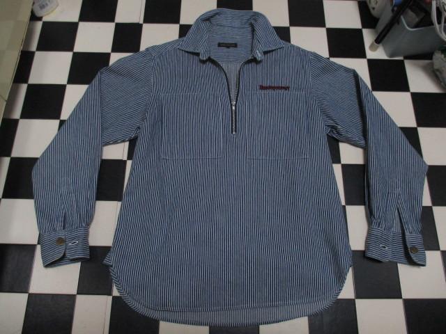 WORLD WIDE LOVE ヒッコリー ストライプ プルオーバー デニムシャツジャケット ジップアップ 刺繍 オールドヴィンテージモデル 40'S 50'S_画像5