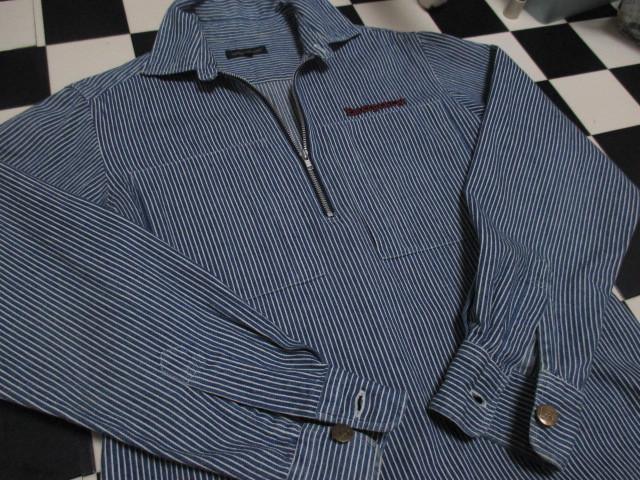 WORLD WIDE LOVE ヒッコリー ストライプ プルオーバー デニムシャツジャケット ジップアップ 刺繍 オールドヴィンテージモデル 40'S 50'S_画像6