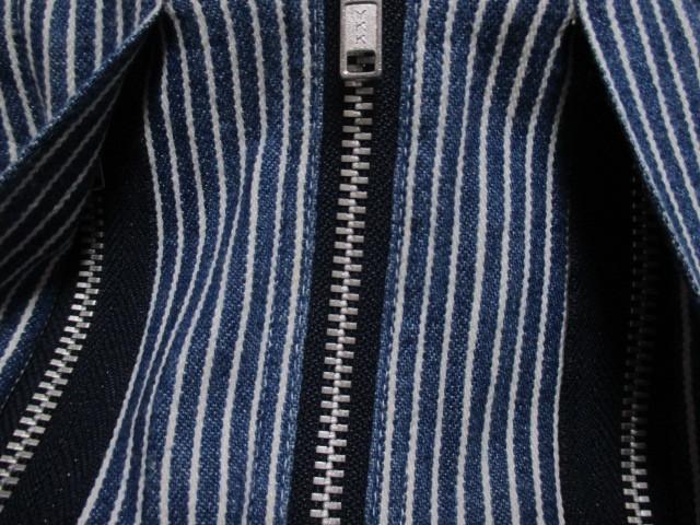 WORLD WIDE LOVE ヒッコリー ストライプ プルオーバー デニムシャツジャケット ジップアップ 刺繍 オールドヴィンテージモデル 40'S 50'S_画像9