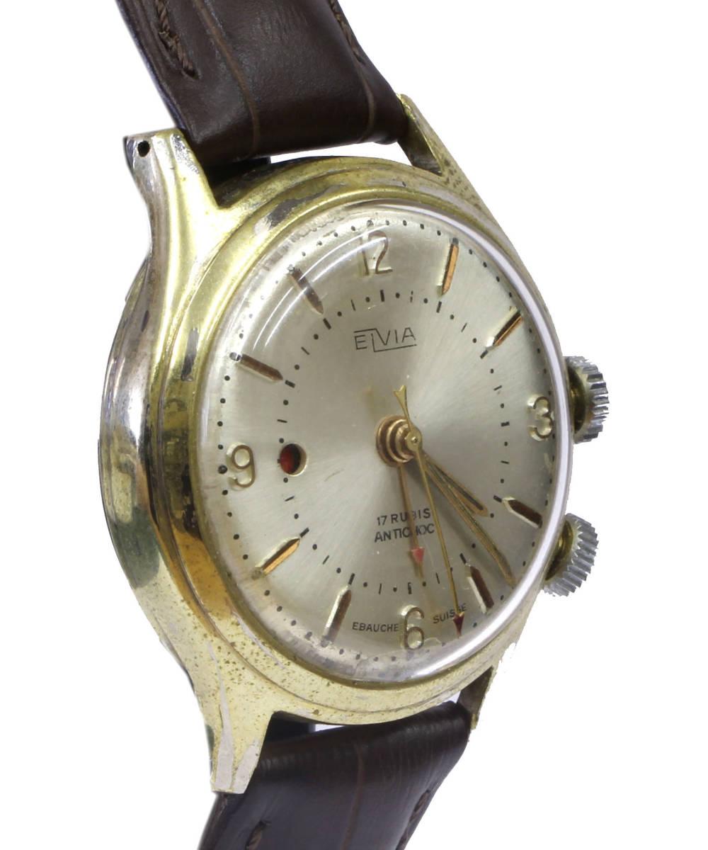 値下げ交渉あり!ヴィンテージ1960年代製ELVIAエルヴィア手巻きアラームウォッチ美品ヴィーナスCal.230搭載1年保証付_画像6