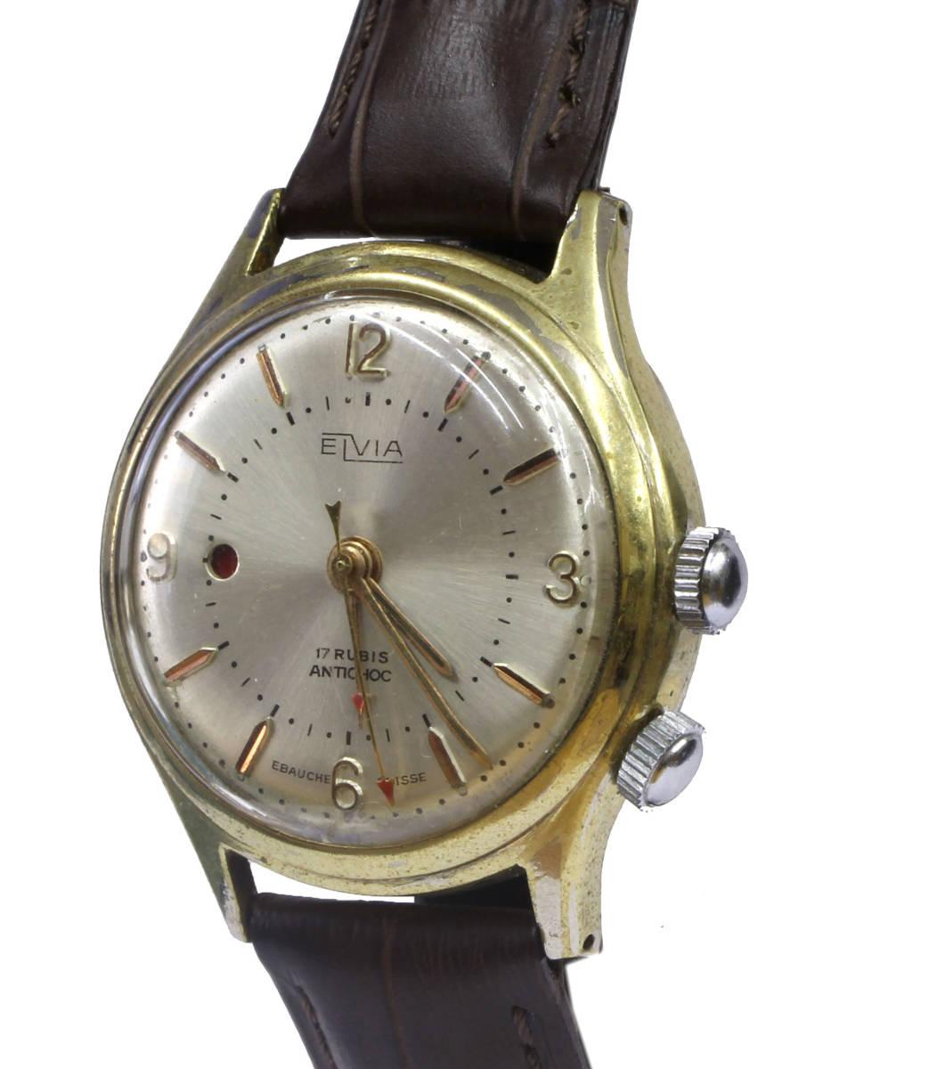 値下げ交渉あり!ヴィンテージ1960年代製ELVIAエルヴィア手巻きアラームウォッチ美品ヴィーナスCal.230搭載1年保証付_画像3