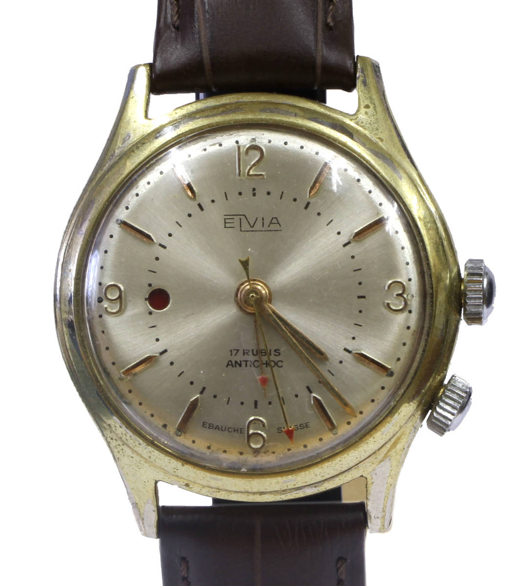 値下げ交渉あり!ヴィンテージ1960年代製ELVIAエルヴィア手巻きアラームウォッチ美品ヴィーナスCal.230搭載1年保証付_画像1