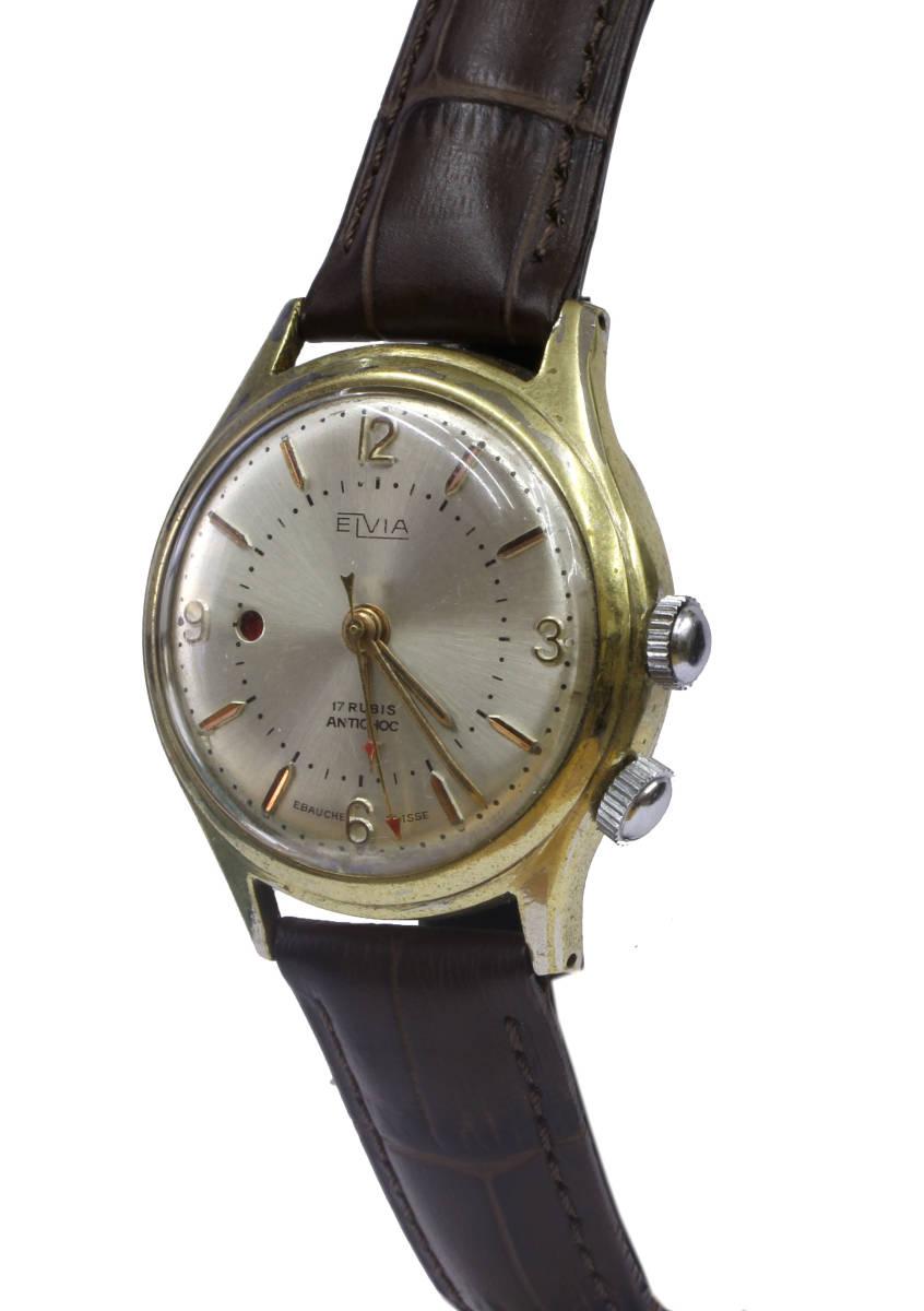 値下げ交渉あり!ヴィンテージ1960年代製ELVIAエルヴィア手巻きアラームウォッチ美品ヴィーナスCal.230搭載1年保証付_画像2