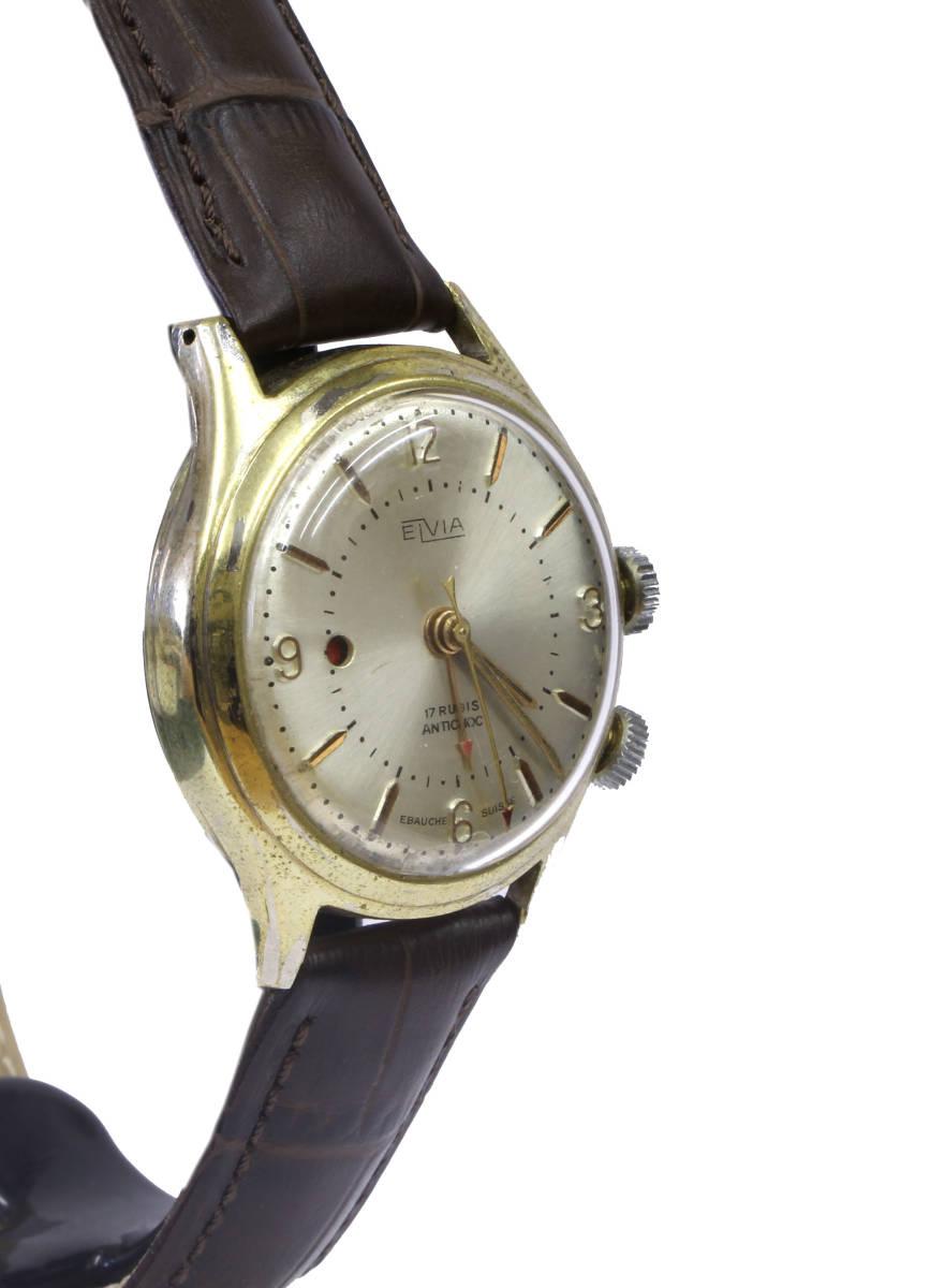 値下げ交渉あり!ヴィンテージ1960年代製ELVIAエルヴィア手巻きアラームウォッチ美品ヴィーナスCal.230搭載1年保証付_画像5
