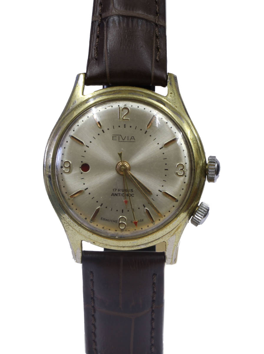 値下げ交渉あり!ヴィンテージ1960年代製ELVIAエルヴィア手巻きアラームウォッチ美品ヴィーナスCal.230搭載1年保証付_画像10
