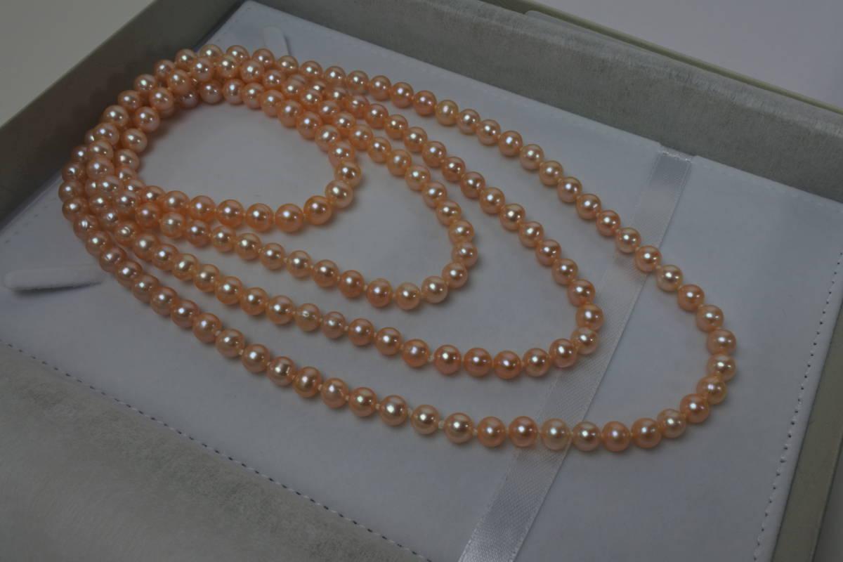 淡水真珠ネックレス ピンク パール径7mm 長さ 126cm 81g 日本製 美品_画像6