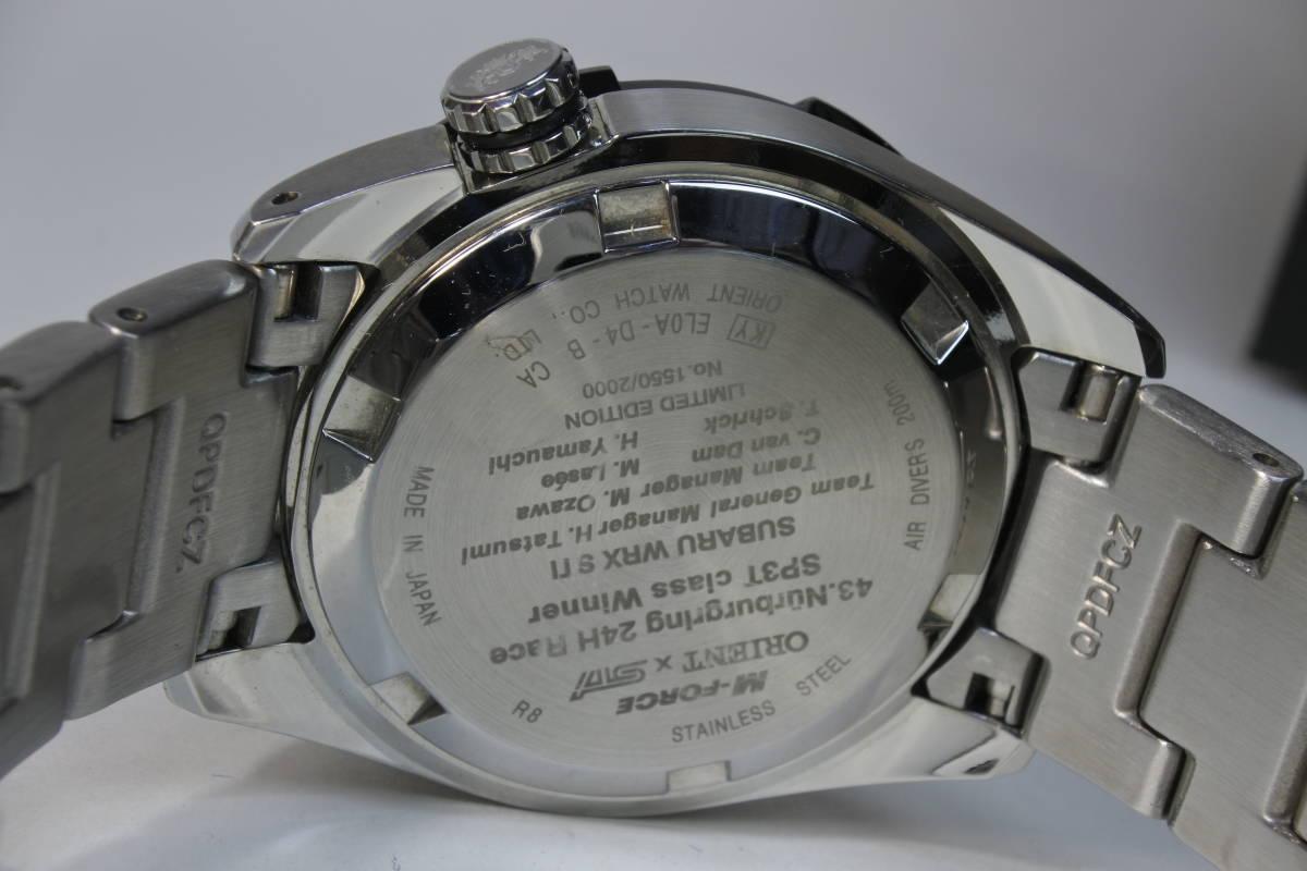 世界限定2,000本日本限定300本 オリエント M-FORCE × STI 24時間耐久レース優勝記念限定モデル 自動巻紳士腕時計 数回使用品 美品_画像4