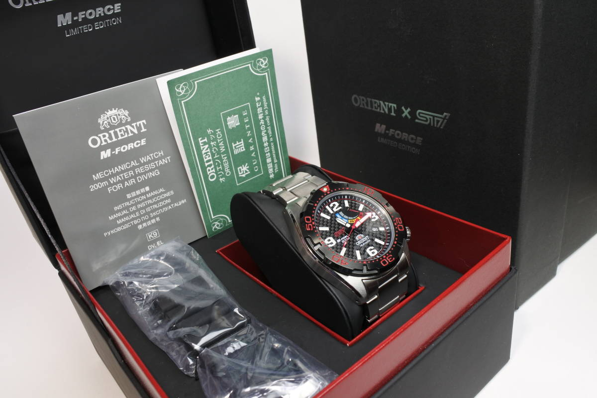 世界限定2,000本日本限定300本 オリエント M-FORCE × STI 24時間耐久レース優勝記念限定モデル 自動巻紳士腕時計 数回使用品 美品_画像1