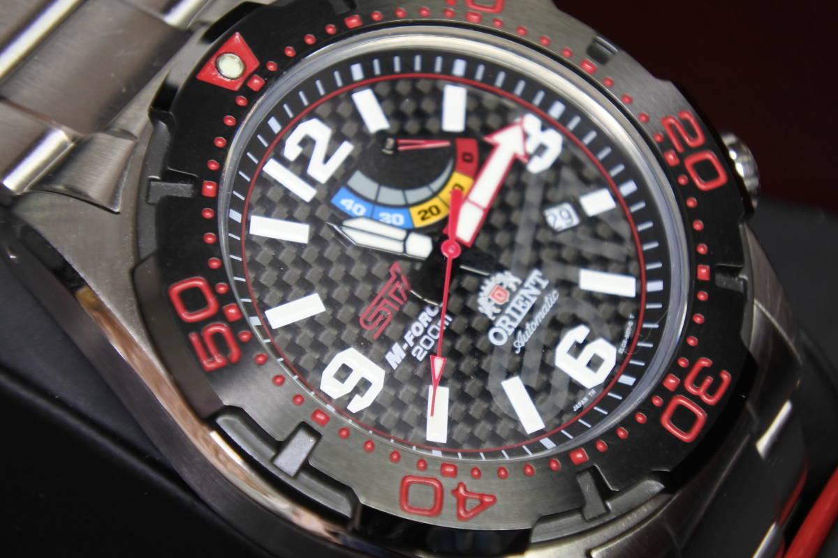 世界限定2,000本日本限定300本 オリエント M-FORCE × STI 24時間耐久レース優勝記念限定モデル 自動巻紳士腕時計 数回使用品 美品_画像3