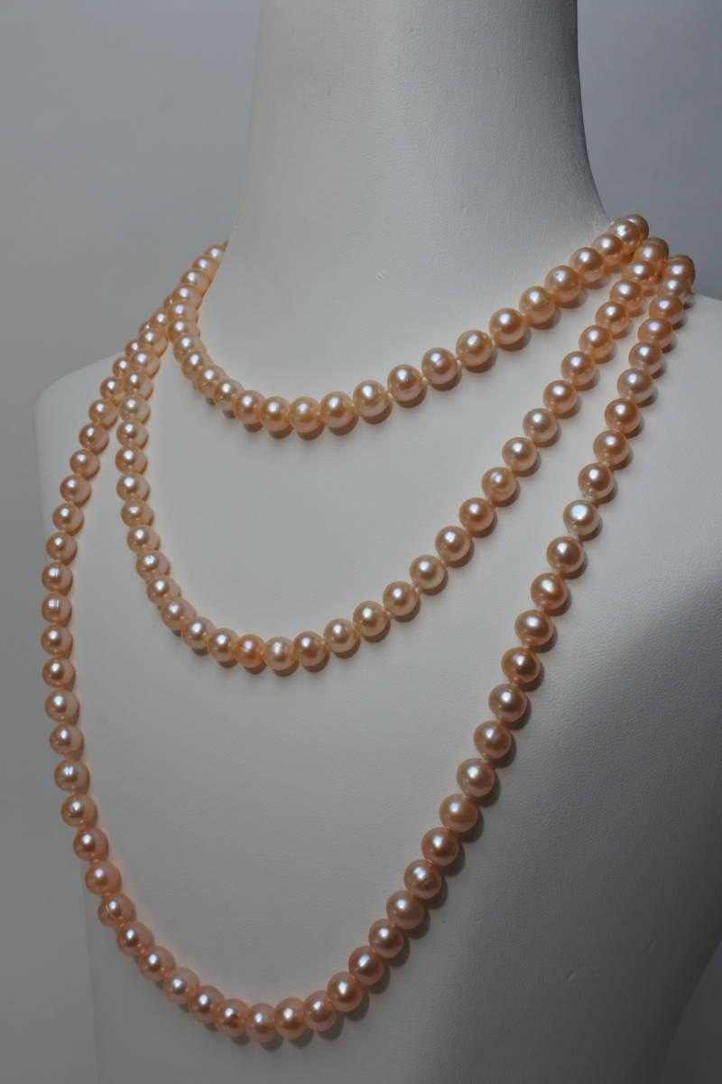 淡水真珠ネックレス ピンク パール径7mm 長さ 126cm 81g 日本製 美品_画像1