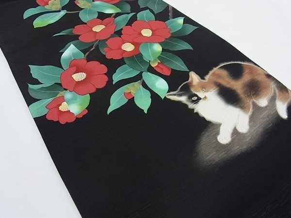 着物屋こころ■全通柄京袋帯 三毛猫に赤椿 逸品 新品 j1337_画像3