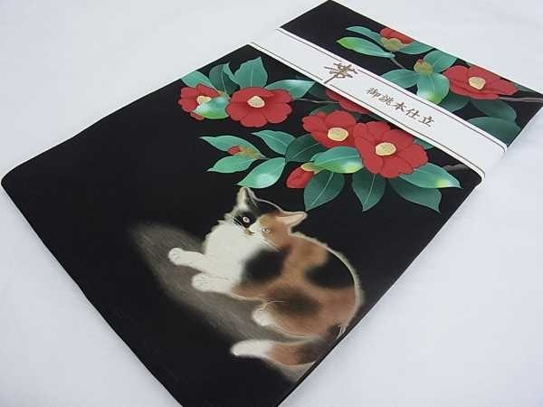 着物屋こころ■全通柄京袋帯 三毛猫に赤椿 逸品 新品 j1337