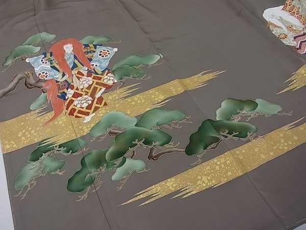 着物屋こころ■極上 色留袖 手描き 駒刺繍 歌舞伎『連獅子』 霞松牡丹 本金箔 逸品 未使用 j1326_画像3