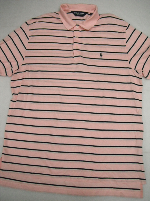 POLO GOLF ラルフローレン 半袖 ボーダー ポロシャツ LL ピンク ゴルフ メンズ 大きいサイズ 定形外特定記録付660円 H6-A_画像1