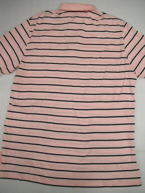 POLO GOLF ラルフローレン 半袖 ボーダー ポロシャツ LL ピンク ゴルフ メンズ 大きいサイズ 定形外特定記録付660円 H6-A_画像4
