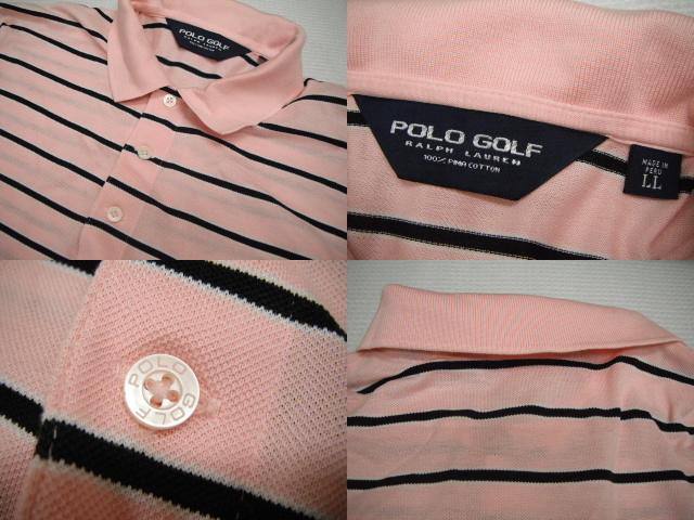 POLO GOLF ラルフローレン 半袖 ボーダー ポロシャツ LL ピンク ゴルフ メンズ 大きいサイズ 定形外特定記録付660円 H6-A_画像3