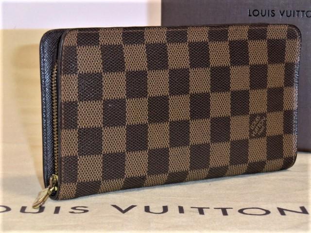 bf909ec2f58f beautiful goods   Louis Vuitton Damier ebenporutomone Zip round fastener  long wallet 1 jpy ~