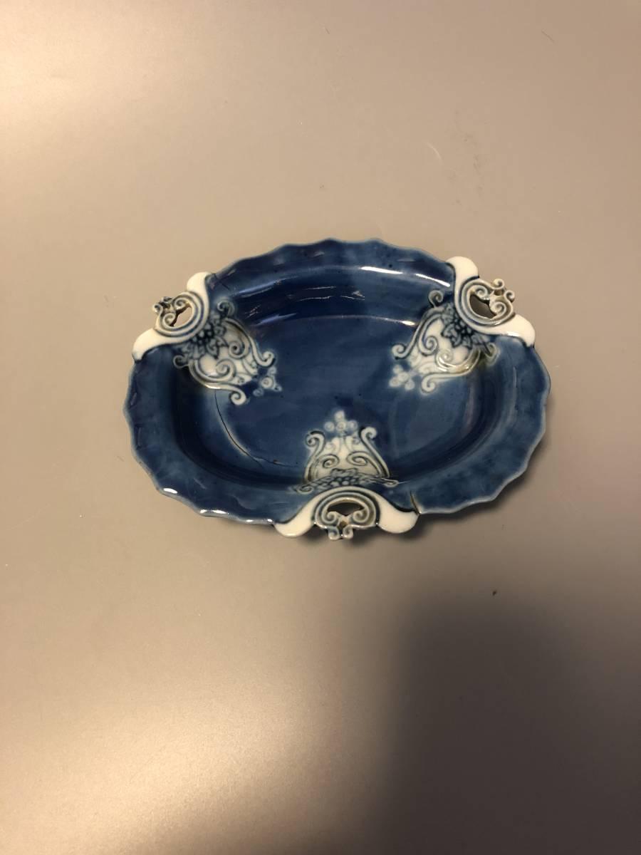 古鍋島松ヶ谷手瑠璃変形皿