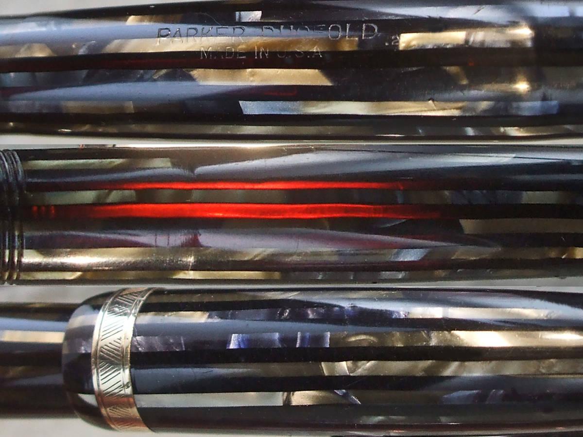 ◆美品◆ 1942年製 パーカー・デュオフォルド SR 青 14金F USA◆1942 Parker Duofold Blue Striped 14ct F U.S.A.◆_画像4