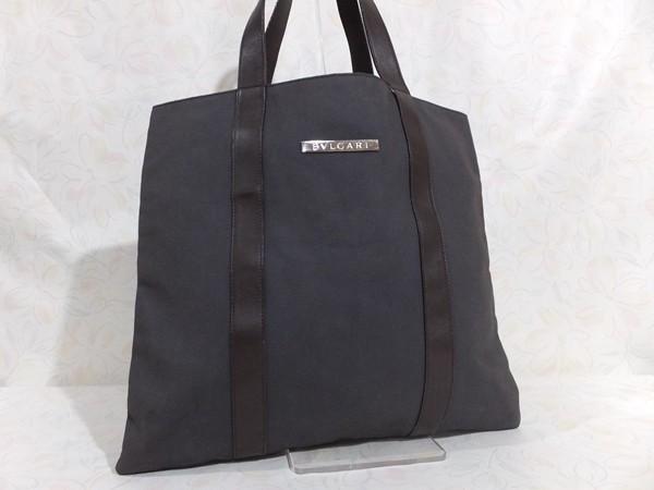 ◆本物◆BVLGARI ブルガリ バッグ メンズ トートバッグ 肩掛け可 最大42.5cm キャンバス レザー ブラウン