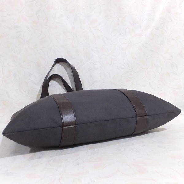 ◆本物◆BVLGARI ブルガリ バッグ メンズ トートバッグ 肩掛け可 最大42.5cm キャンバス レザー ブラウン_画像8