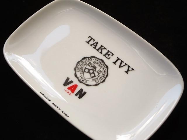送料無料! VAN JAC 旧ヴァンヂャケット「 TAKE IVY 」陶器製 トレイ 「 HATOYA MEN'S SHOP 」 入手困難! !