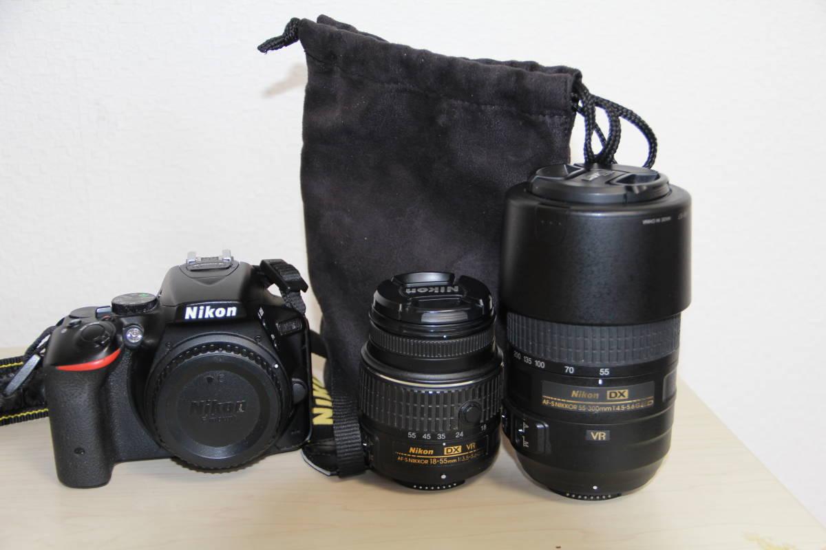ニコン(NIKON) デジタル一眼レフカメラD5500 2416万画素,ダブル・ズームキット、ブラックボデイ、3.2型液晶タッチパネル、中古品_画像3