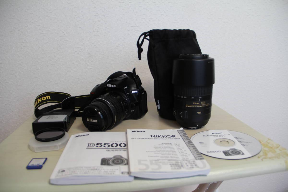 ニコン(NIKON) デジタル一眼レフカメラD5500 2416万画素,ダブル・ズームキット、ブラックボデイ、3.2型液晶タッチパネル、中古品