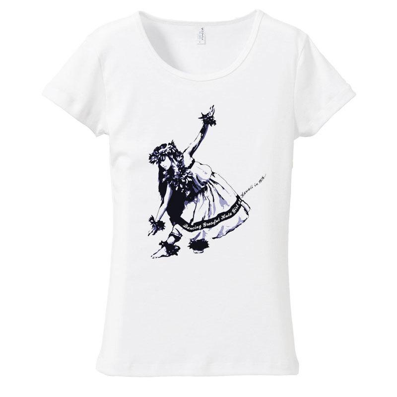 (XL)ホワイト【093】ダークネイビー絵画風ダンシングフラガール&ハイビスカス フラダンス メール便発送Tシャツ半袖送料無料ハワイ・フラ_画像1