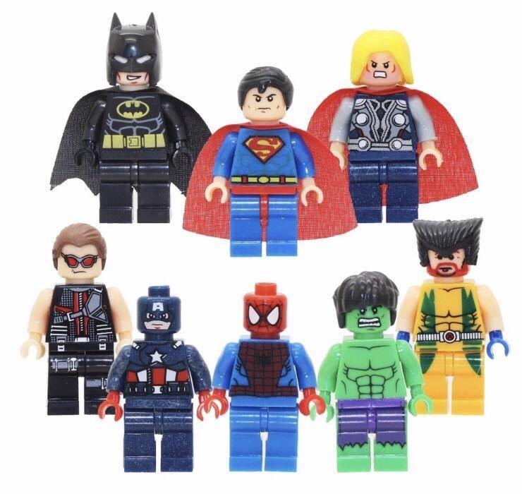 スーパーヒーロー8体セット レゴ互換 ミニフィグ スーパーヒーローズ アイアンマン キャプテン・アメリカ スパイダーマン スーパーマン他
