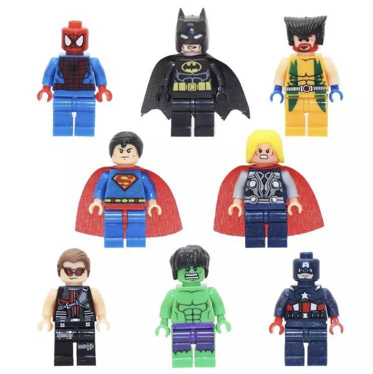 スーパーヒーロー8体セット レゴ互換 ミニフィグ スーパーヒーローズ アイアンマン キャプテン・アメリカ スパイダーマン スーパーマン他_画像4