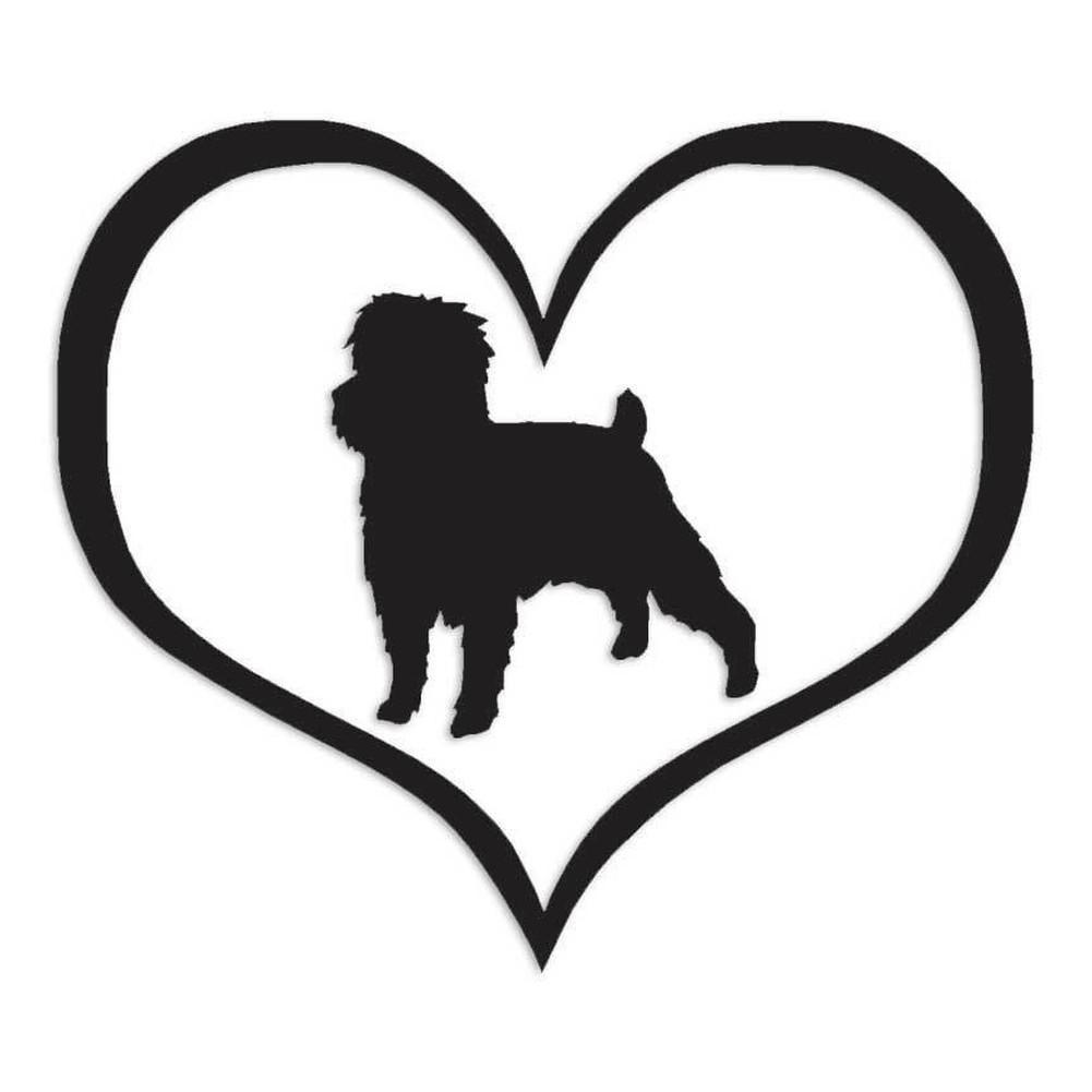 海外限定 新品 アーフェンピンシャー ハートマーク ラブ 犬 10.8cm × 9.5cm 色カスタム可能 ステッカー_画像1
