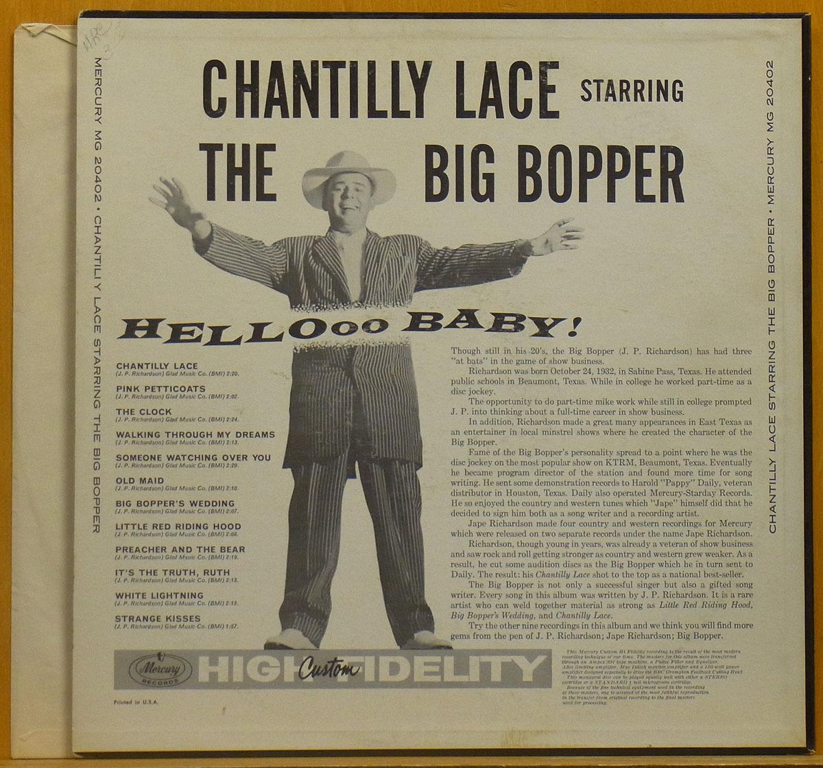 ◆激レア!美品!MONO!★The Big Bopper「Chantilly Lace」USオリジLP #55299_画像2