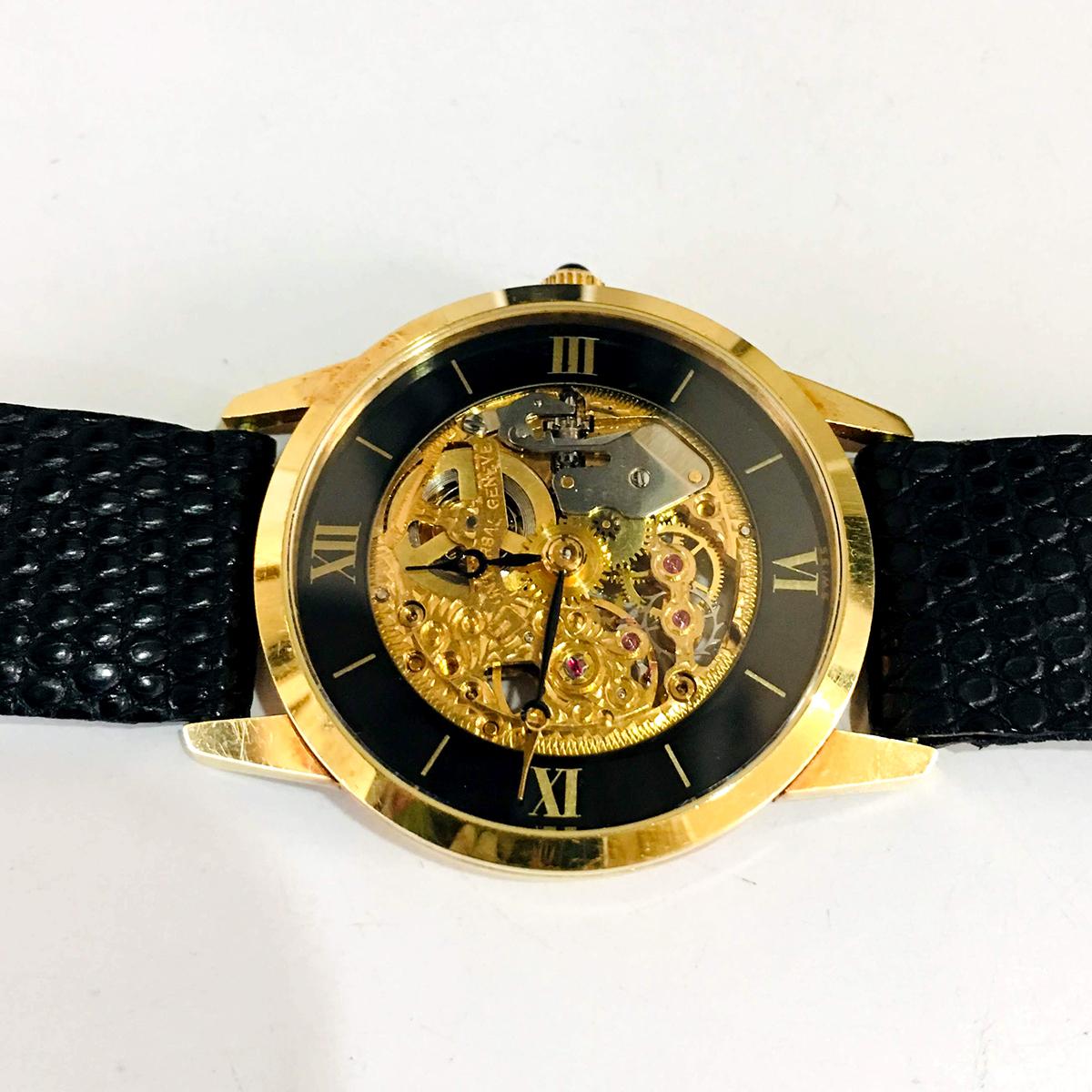 E7781【UNIVERSAL】ユニバーサル スケルトン 最高級18金無垢ボーイズ手巻 腕周り20~15cm 重量27.1g ケース幅30mm_画像3