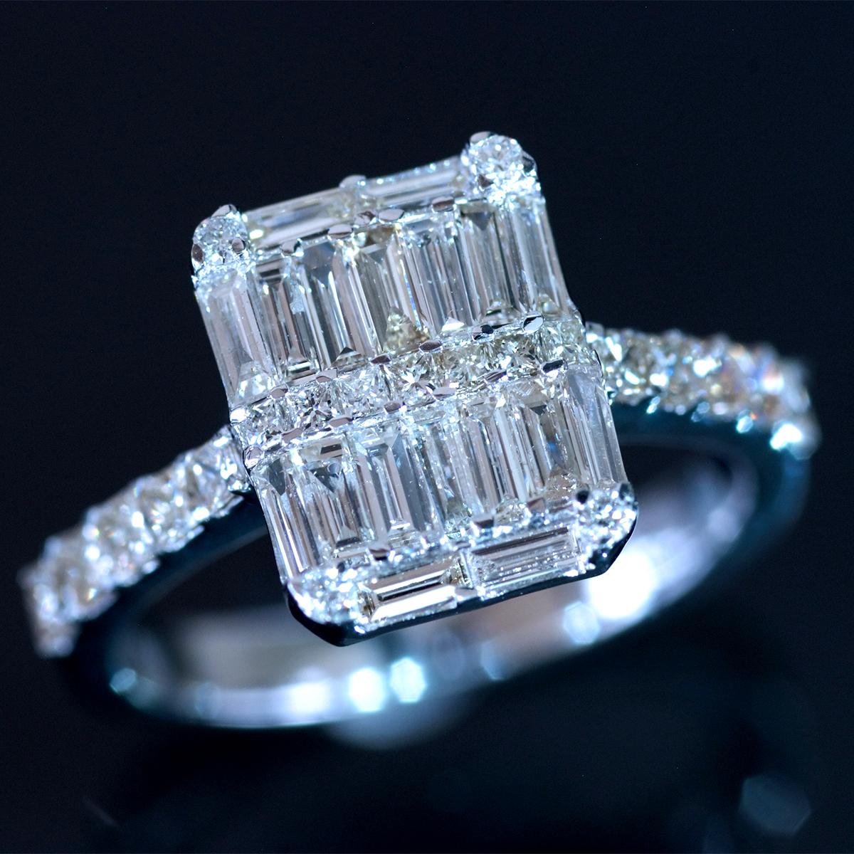 *R4482 デビアスグループのサイトホルダー令和新作モデル!天然上質ダイヤモンド1.13ct 最高級18金WG無垢R S12号 総重量3.5g 幅11.5mm