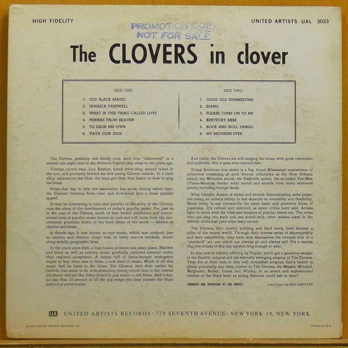 ◇激レア!白ラベプロモ!MONO!★The Clovers[In Clover]US LP #54986_画像2