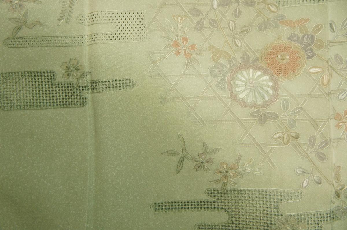 正絹裏葉色スワトウ刺繍かすみ竹垣花模様訪問着[H11200]_裏葉色スワトウ刺繍かすみ竹垣花模様訪問着