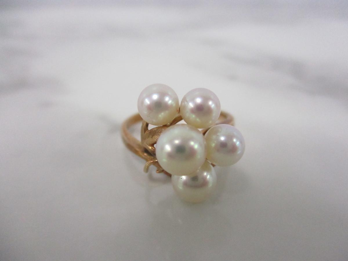 A6現品限り★K14 パール 6mm(5個) 真珠のリング 14金 9号 重量2.6g_画像3