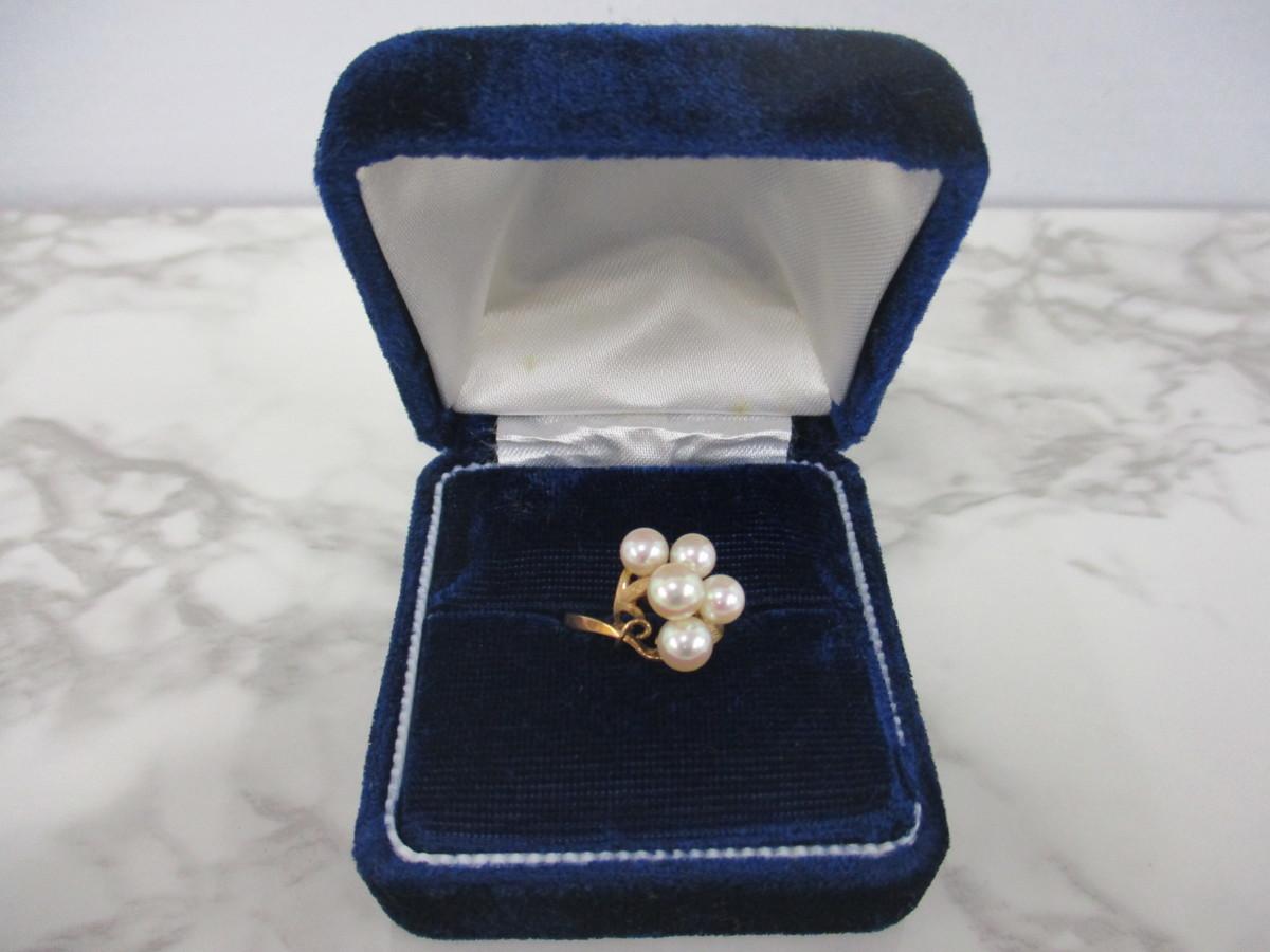 A6現品限り★K14 パール 6mm(5個) 真珠のリング 14金 9号 重量2.6g_画像1