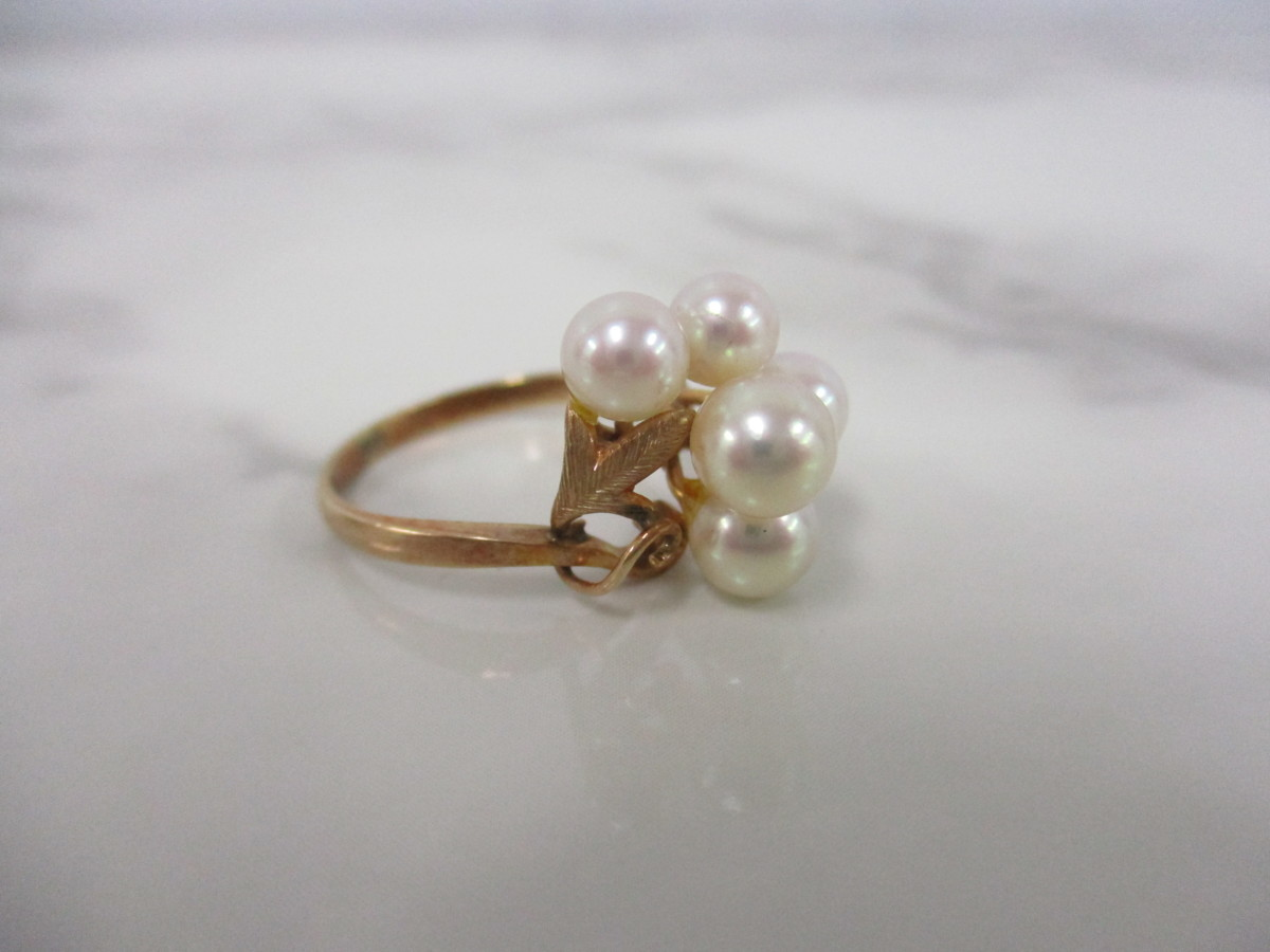 A6現品限り★K14 パール 6mm(5個) 真珠のリング 14金 9号 重量2.6g_画像2