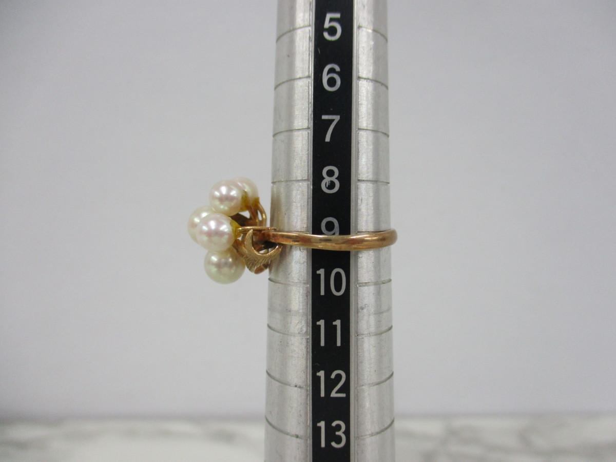 A6現品限り★K14 パール 6mm(5個) 真珠のリング 14金 9号 重量2.6g_画像4
