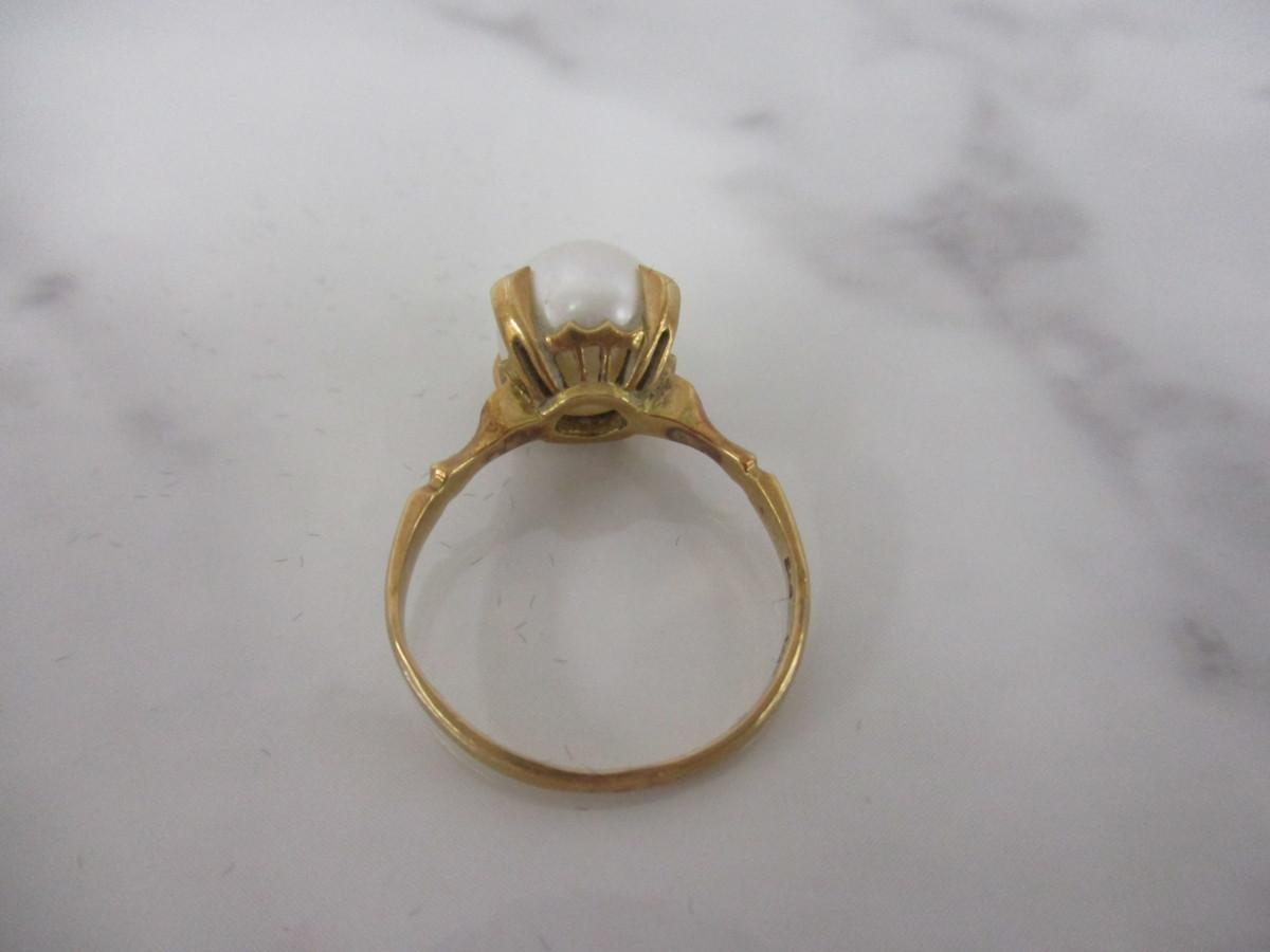 A7現品限り★K18 シンプルな パール 真珠 リング 指輪 18金 8mm 9.5号 3.2g_画像5