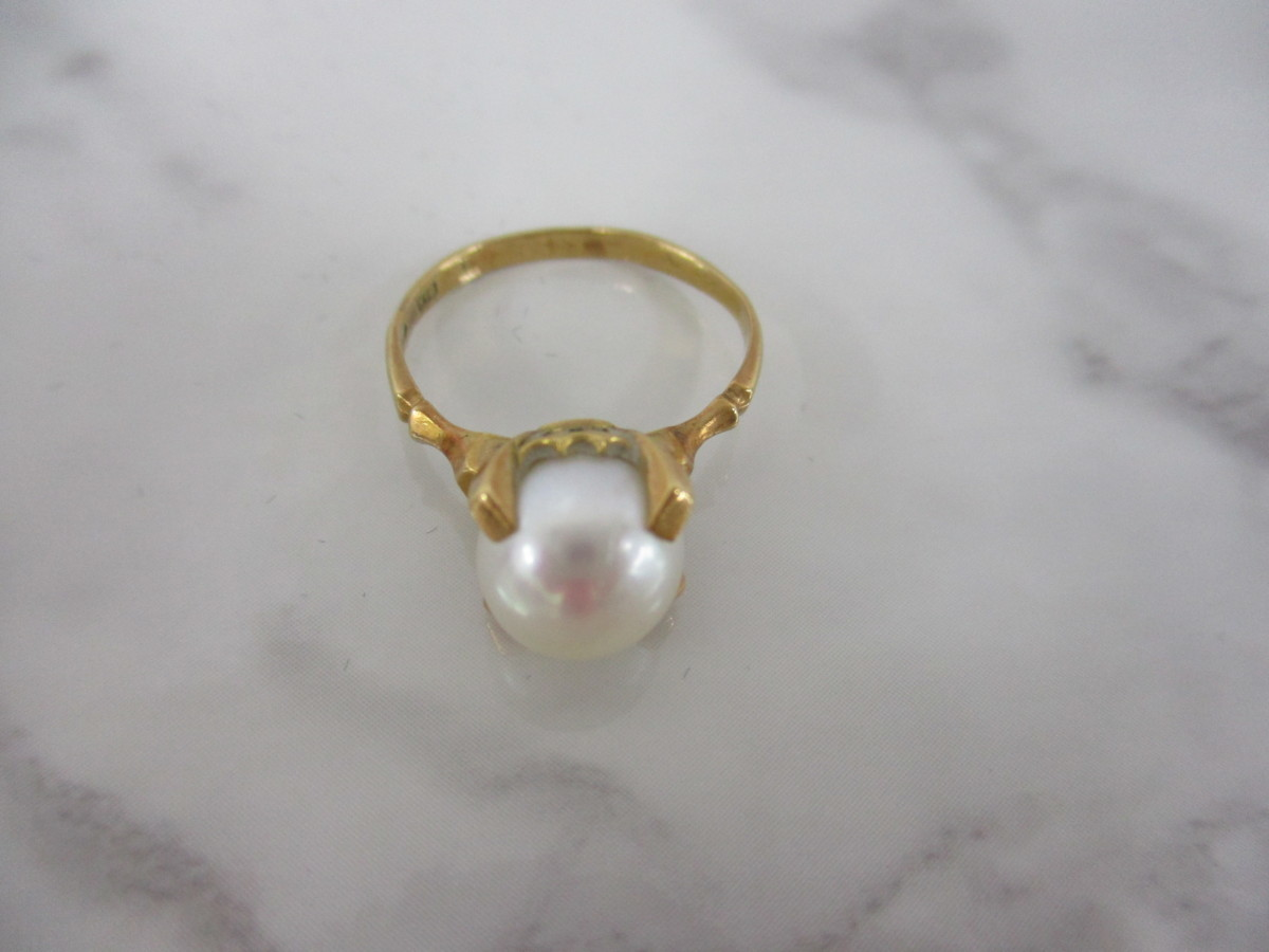 A7現品限り★K18 シンプルな パール 真珠 リング 指輪 18金 8mm 9.5号 3.2g_画像4