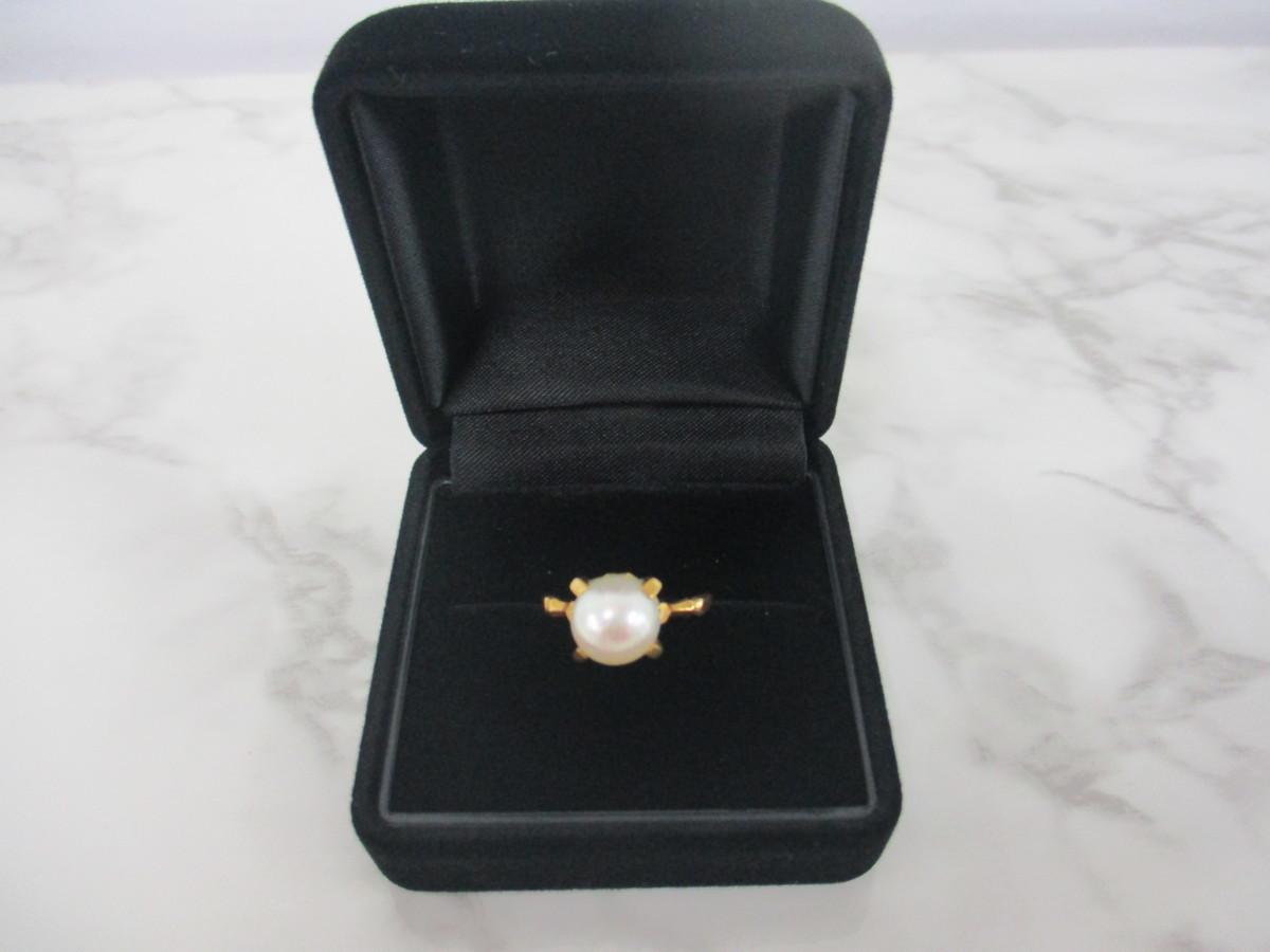 A7現品限り★K18 シンプルな パール 真珠 リング 指輪 18金 8mm 9.5号 3.2g_画像1