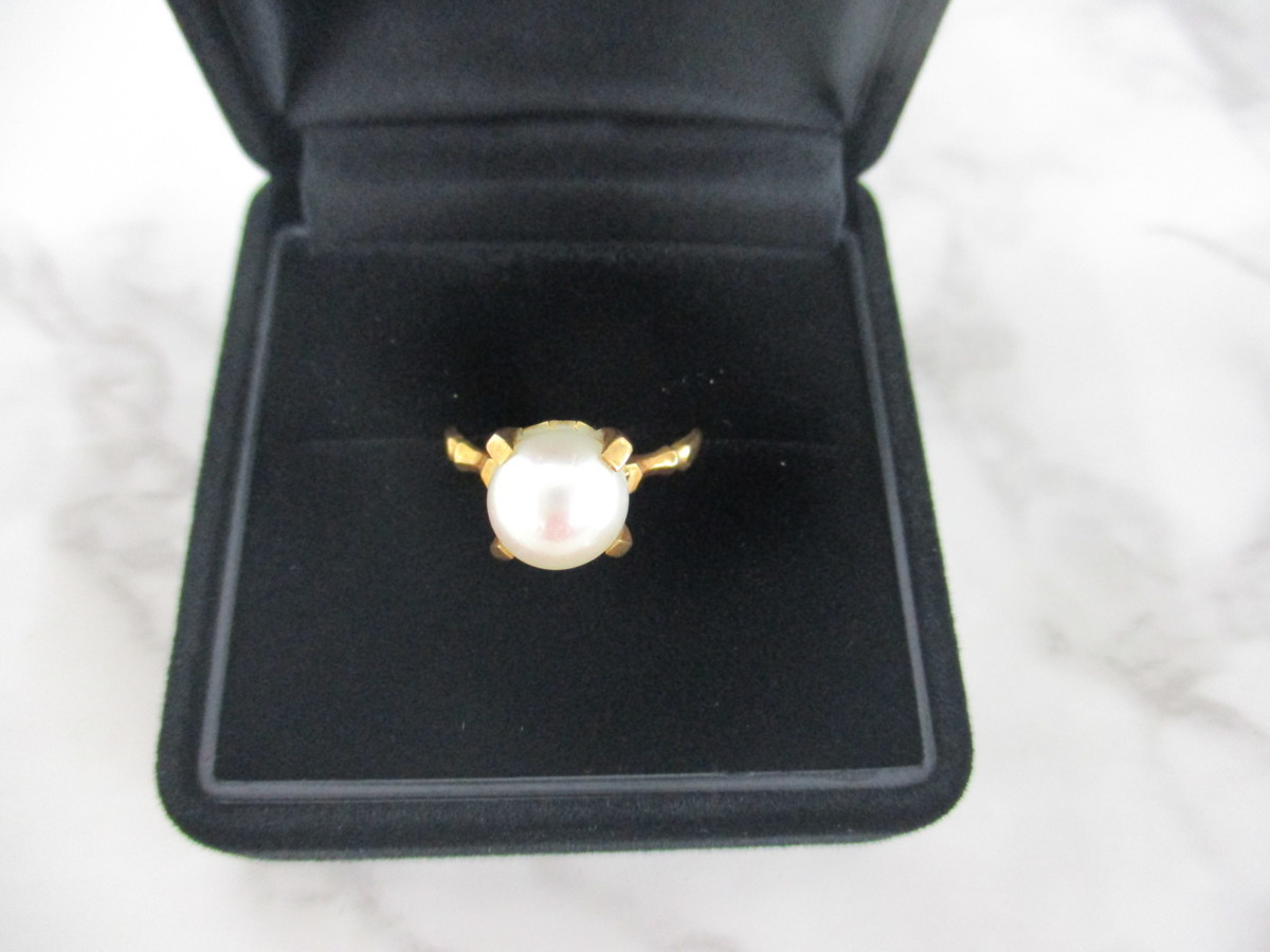 A7現品限り★K18 シンプルな パール 真珠 リング 指輪 18金 8mm 9.5号 3.2g_画像2
